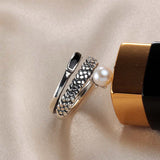 Perfectly Rounded Vintage Pearl Ring on  Sterling Silver 1096
