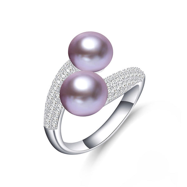 Beautiful Free Size Sterling Silver Ring with Freshwater Pearl 1037