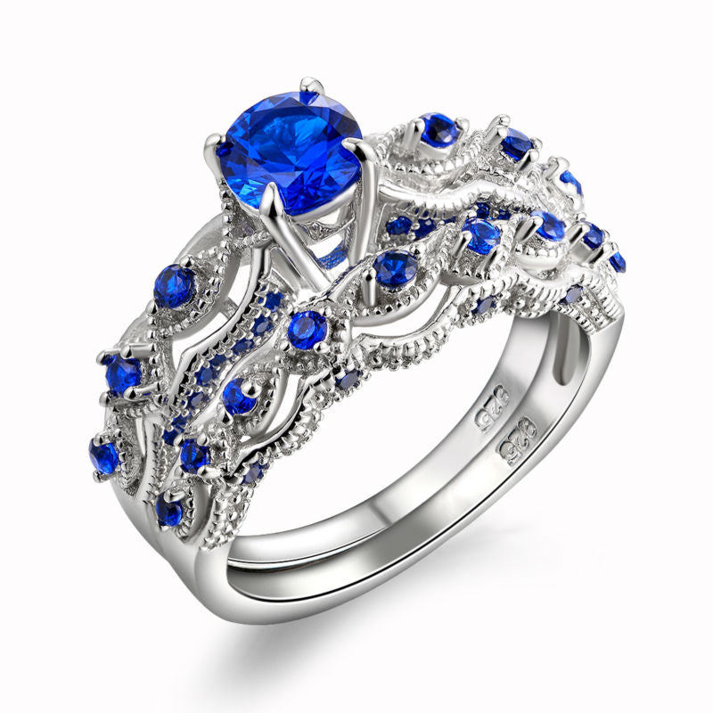 Blue CZ Eternity 1.3 Ct Sterling Silver Ring with Band 1056