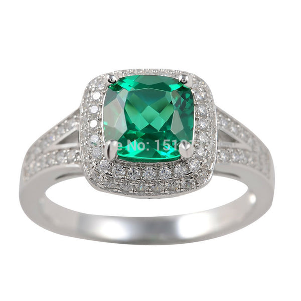 Radiant Cut Green CZ on Sterling Silver Ring 1103