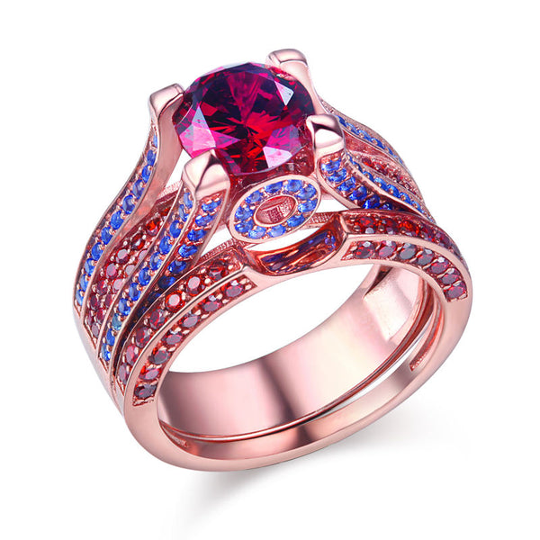 Grand 3.8 Carats CZ Rose Gold Color on Sterling Silver Ring with band 1080
