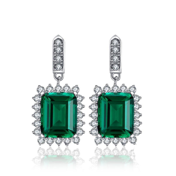 Sterling Silver Earrings with 9.5ct Emerald 1131