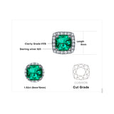 Sterling Silver with 2.1ct Created Emerald Halo Stud Earrings 1159