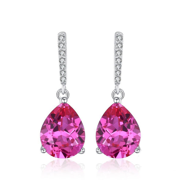 Sterling Silver Earrings with 7ct Created Pink Sapphire 1130