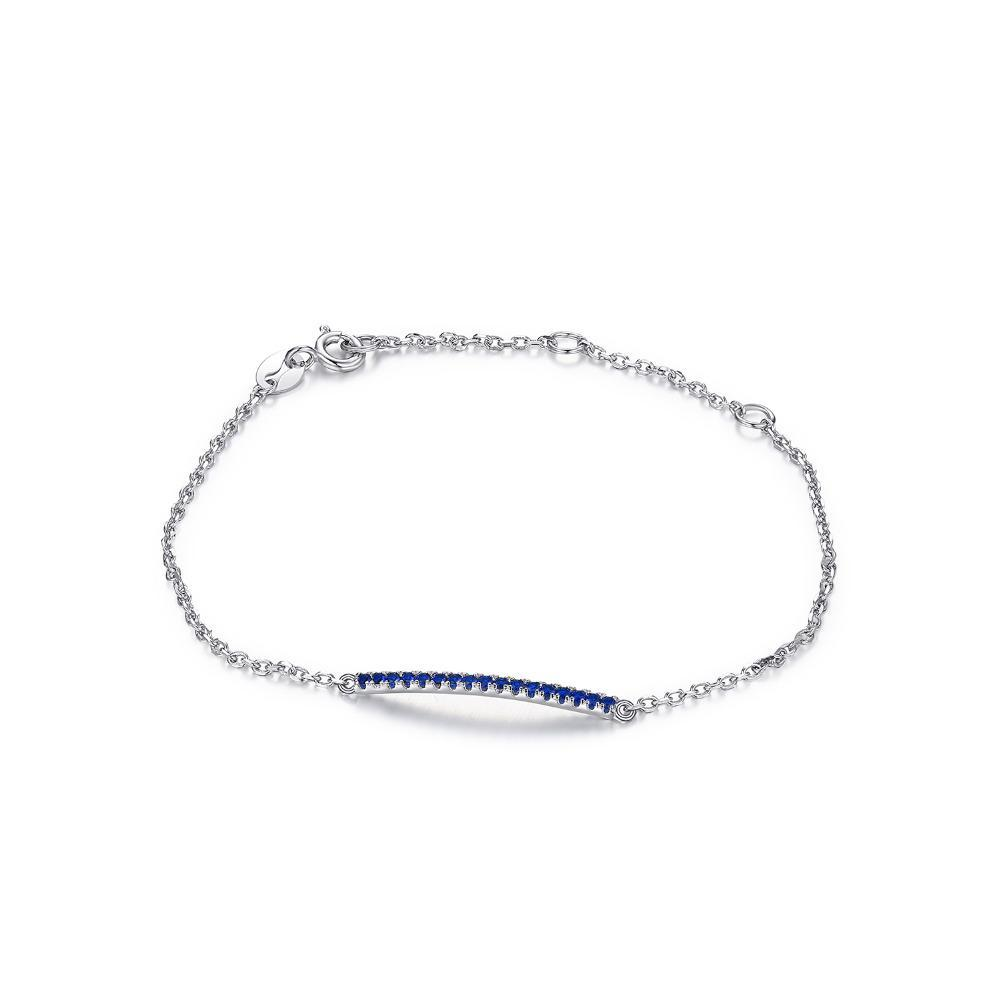Sterling Silver with 0.16 Created Blue Spinel Anklets Bracelets 1139