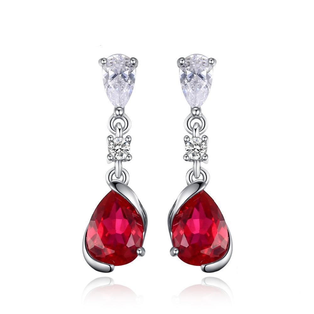Sterling Silver Earrings with 2.4ct Pear Red Created Ruby 1124