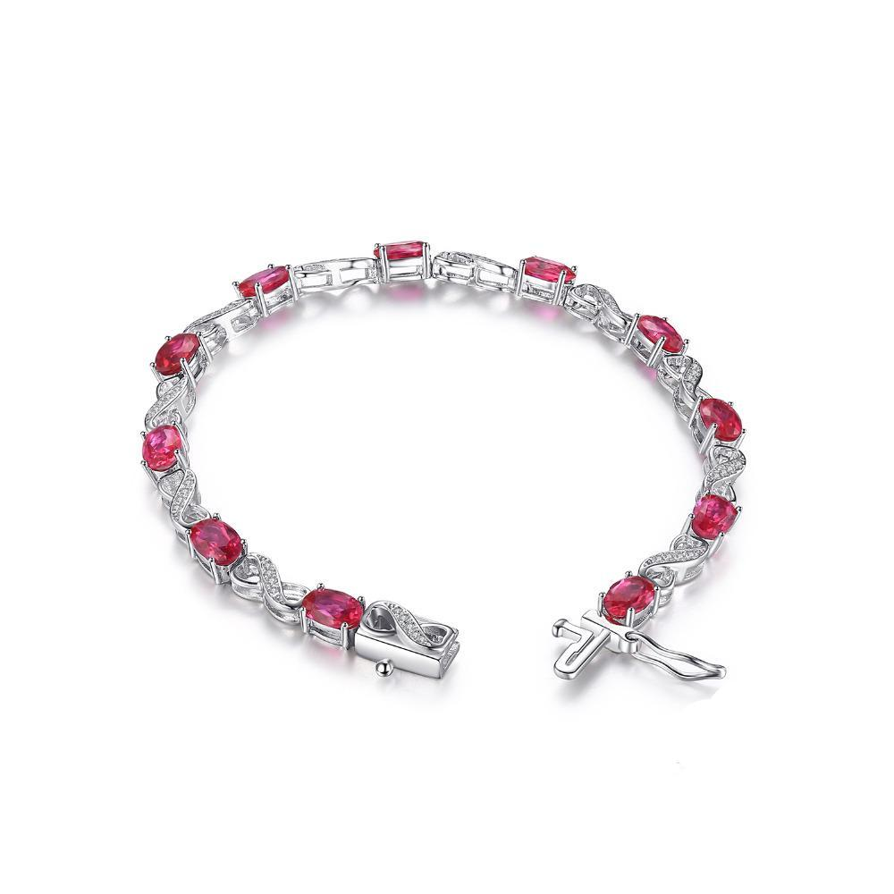Sterling Silver with 6.8ct Oval Created Ruby Tennis Bracelet 1178