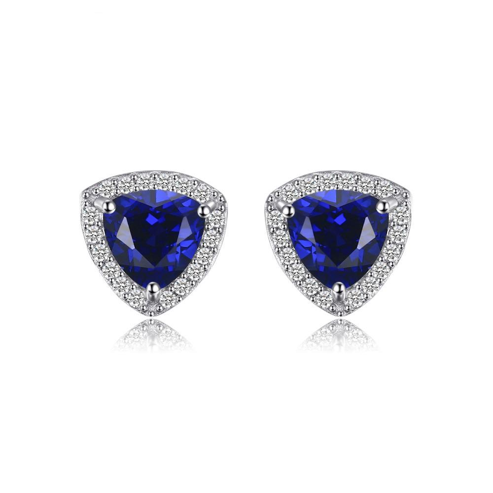 Sterling Silver Earrings with 2.3ct Created Blue Sapphire 1123