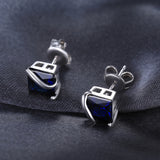 Sterling Silver Earrings with 2.8ct Created Sapphire 1100