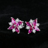 Sterling Silver with 0.9ct Created Ruby Stud Earrings 1143