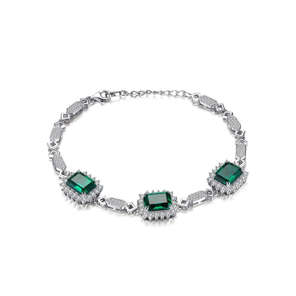 Sterling Sliver with 8.2ct Created Emerald Link Bracelet 1184