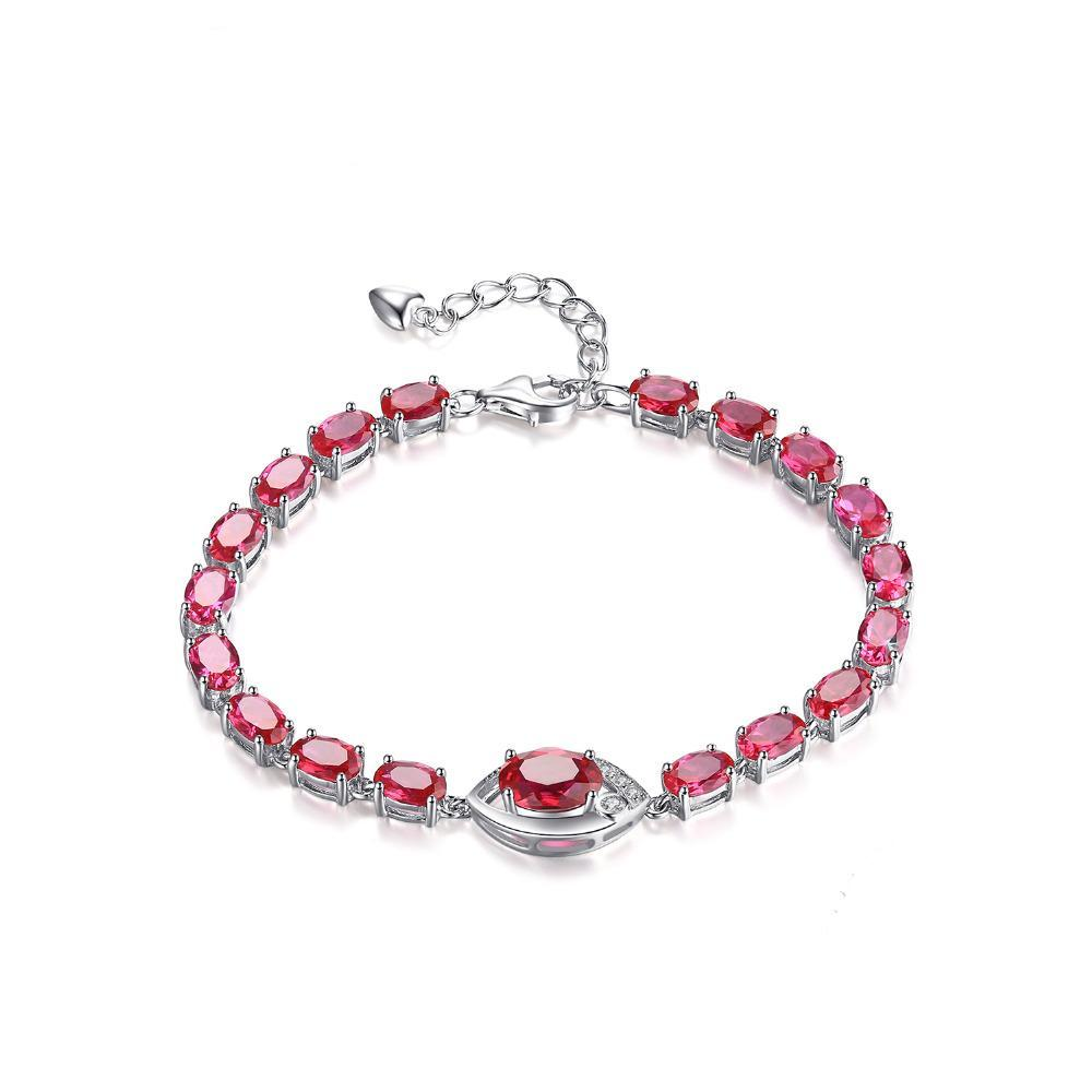 Sterling Silver with 10.8ct Created Red Ruby Link Bracelet 1156