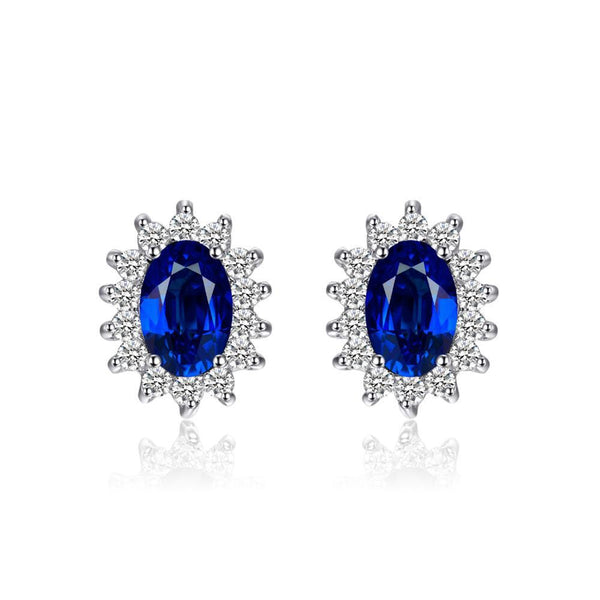 Sterling Silver with 1.5ct Oval Blue Sapphire Earrings Stud Princess Diana 1153