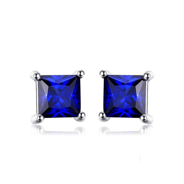 Sterling Silver with 0.8ct Created Blue Sapphire Stud Earrings 1142