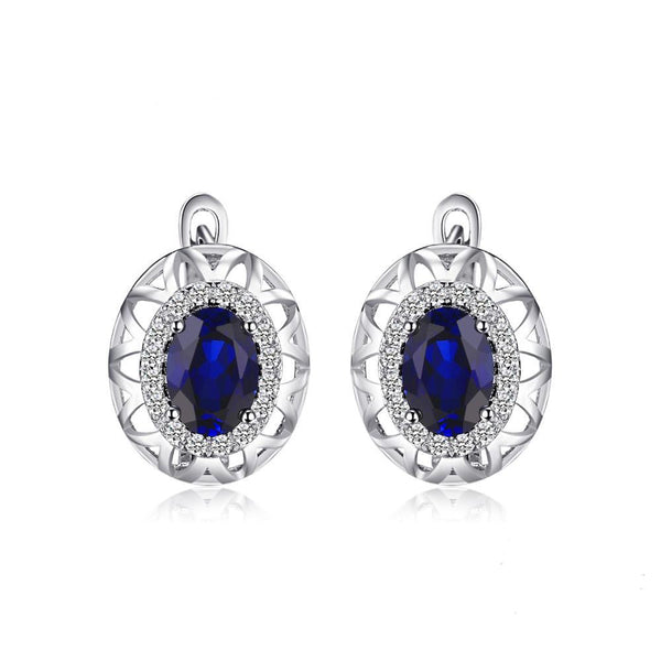 Sterling Silver with 2.4ct Created Blue Sapphire Clip On Earrings 1162