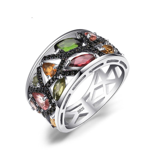 2.3ct Multicolor Genuine Tourmaline Black Spinel Ring on Sterling Silver 1086
