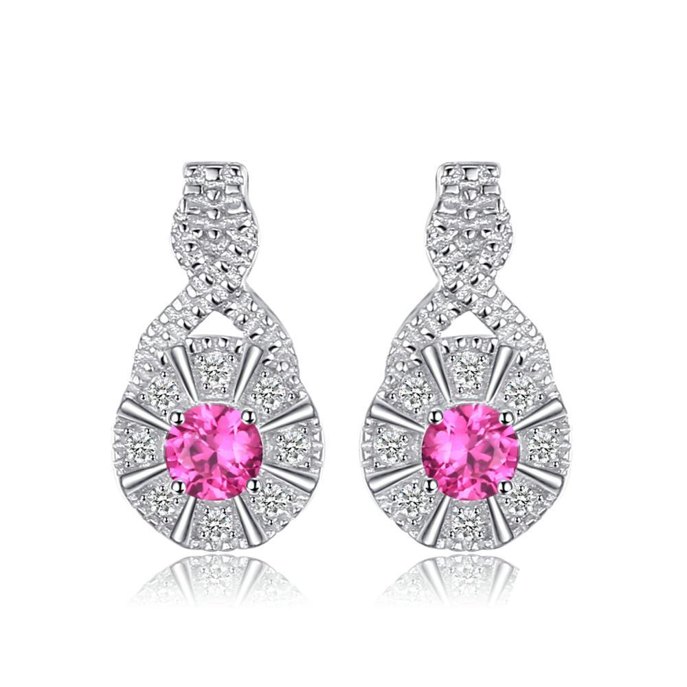 Sterling Silver Earrings with 0.43ct Round Created Ruby 1117