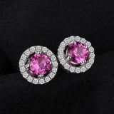 Sterling Silver with 1.4ct Created Pink Sapphire Stud Earrings 1149