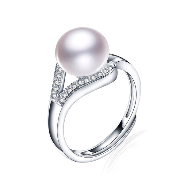 Pure Sterling Silver Ring with Natural Freshwater Real Pearl 1102