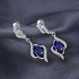 Sterling Silver Earrings with 2.2ct Created Blue Sapphire 1122