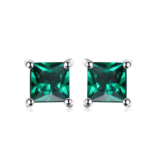Sterling Silver with 0.6ct Created Emerald Stud Earrings 1150