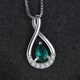 0.45 ct Created Emerald Pendant on Sterling Silver 1233