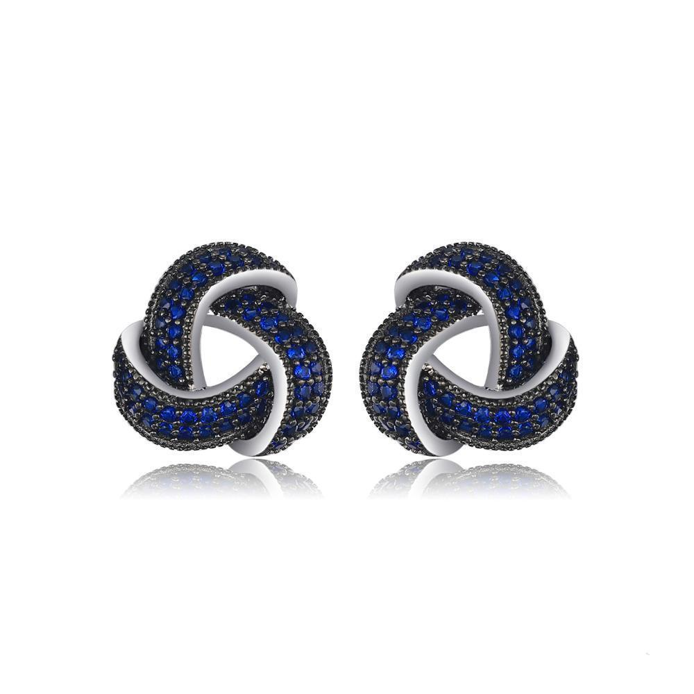 Sterling Silver Earrings with 0.6ct Created Blue Spinel 1118
