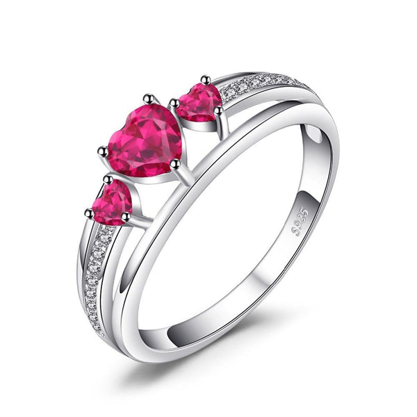 0.9ct Created Red Ruby 3 Stones Ring on Sterling Silver 1189