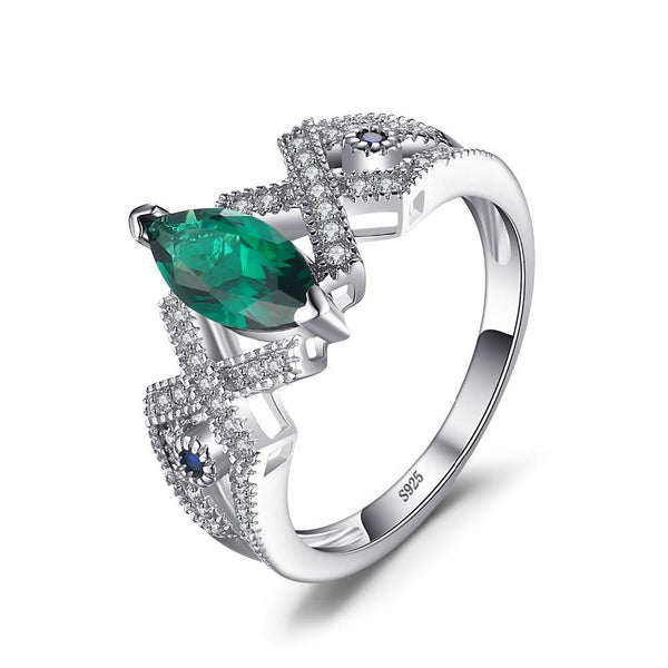 2.7ct Created Emerald Blue Spinel Ring on Sterling Silver Ring 1031