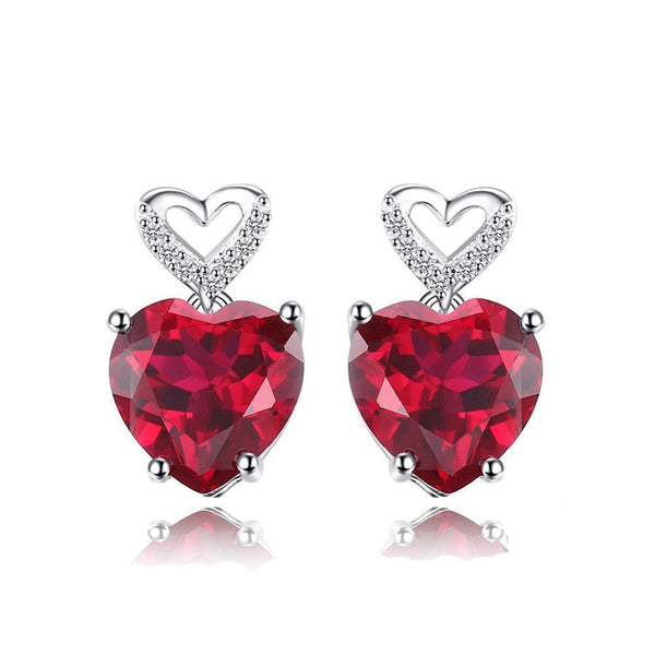 Sterling Silver Earrings with 7.2ct Created Red Ruby 1129