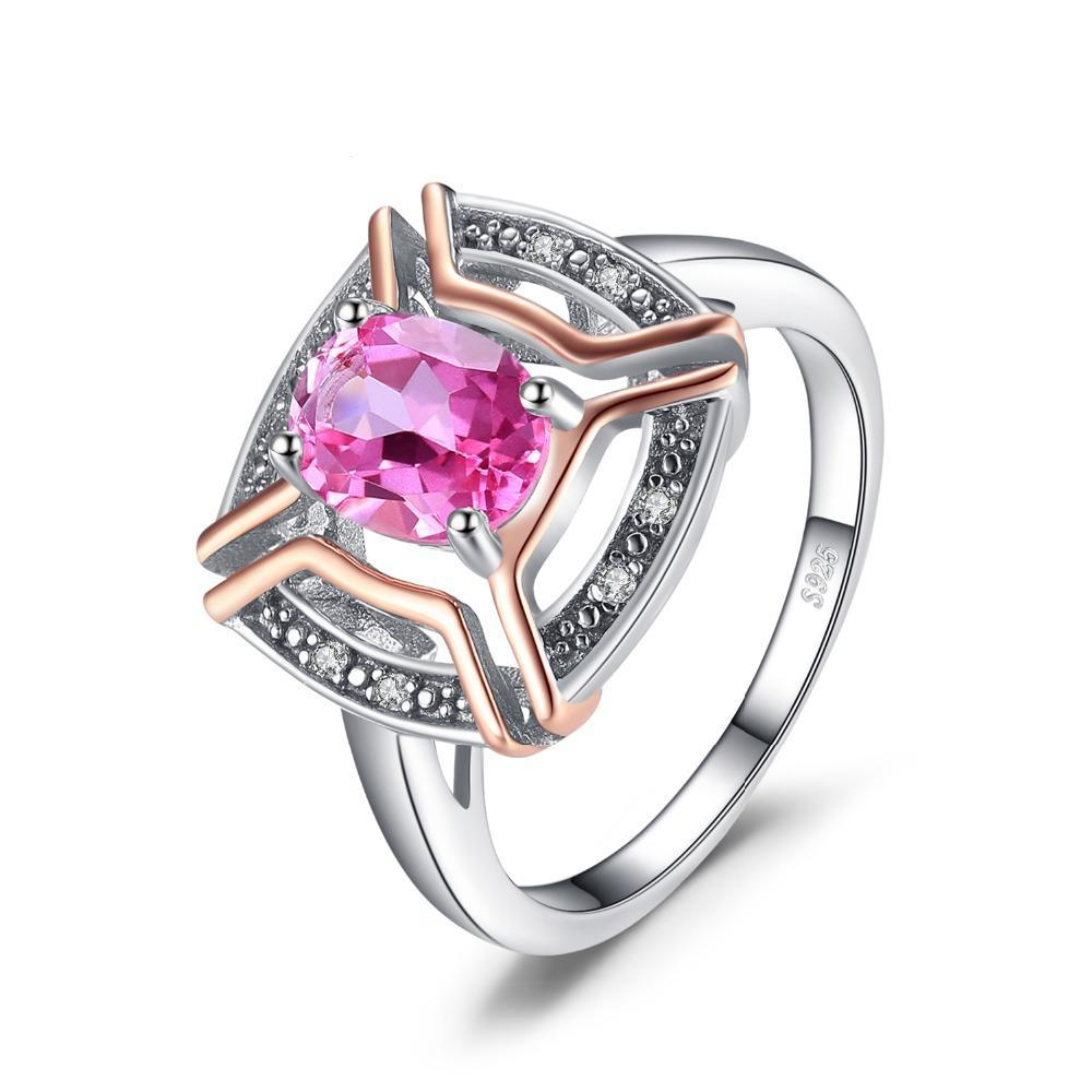 Classic Sterling Silver 1.5ct Oval Pure Pink Topaz Ring 1421