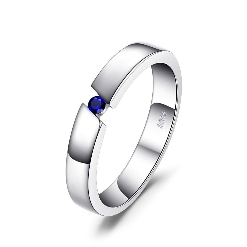 0.04ct Created Sapphire Solitaire Ring on Sterling Silver 1044
