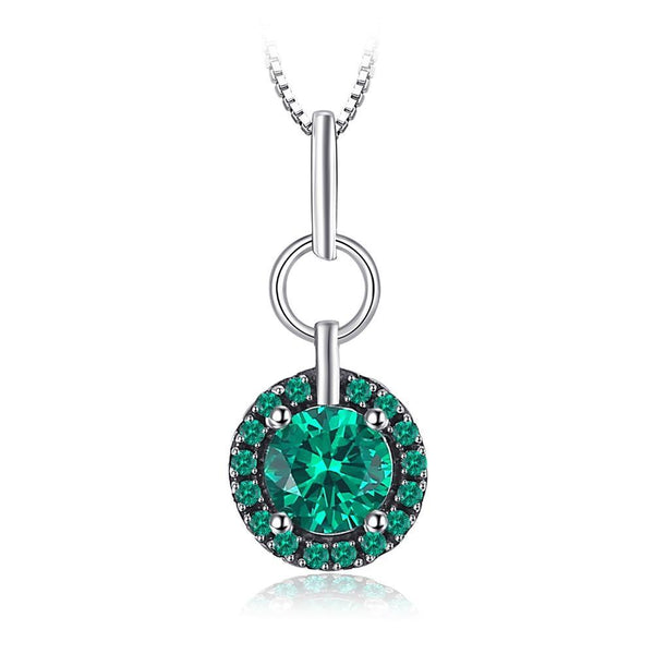 0.5 ct Created Emerald Pendant on Sterling Silver 1225