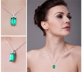 6ct Created Emerald Pendant on Sterling Silver Pendant 1246