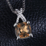 0.93ct Square Natural Smoky Quartz Pendant on 925 Sterling Silver 1227