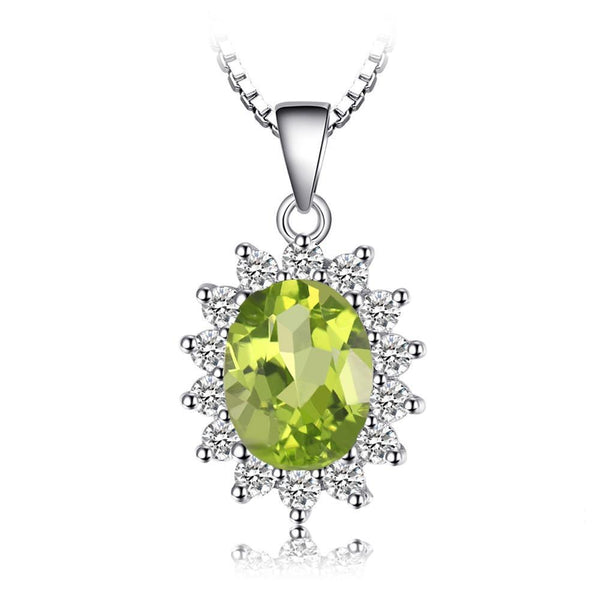 2.2ct Natural Peridot Halo Pendant Necklace 1522
