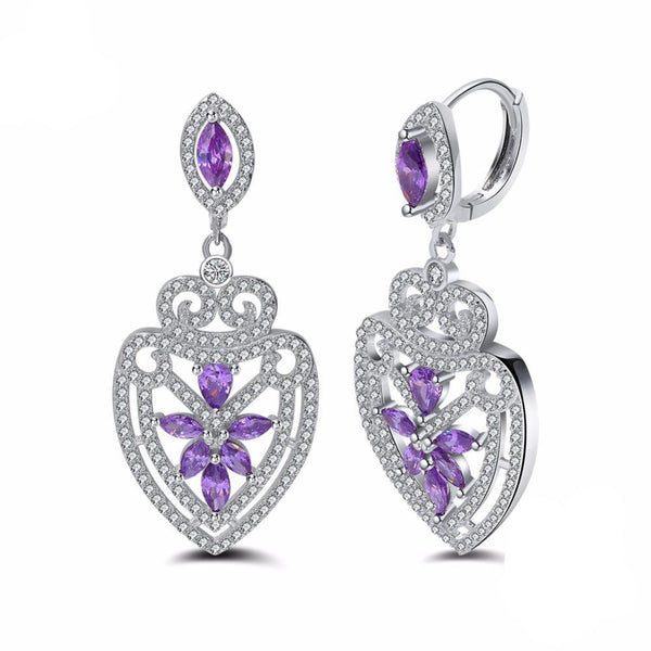 Sterling Silver Earrings with Nature Purple Stone 1372