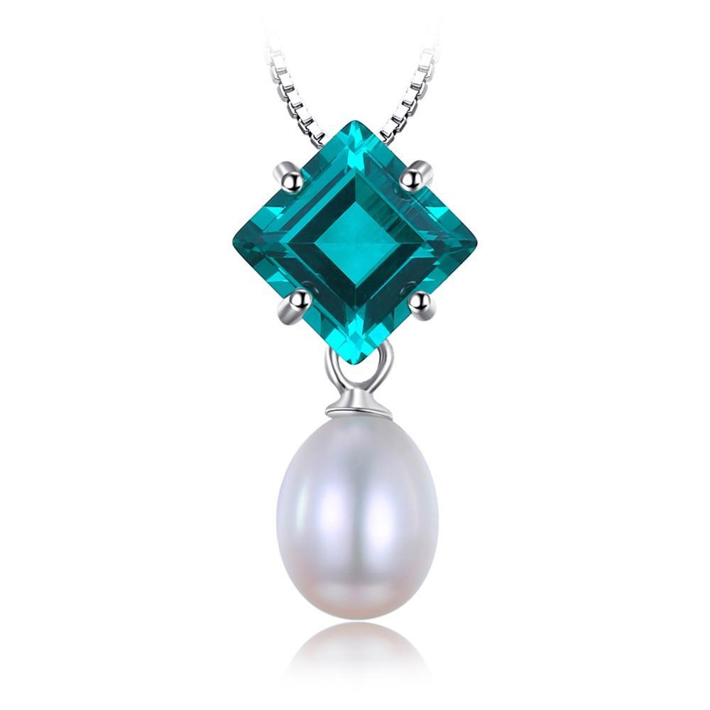 2.0ct Simulated Emerald & Cultured Oval Shape Pearl Pendant on Sterling Silver 1244