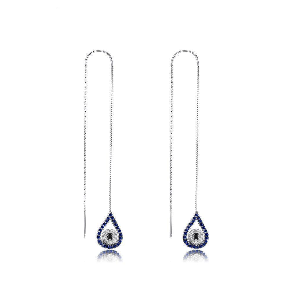 Sterling Silver Earrings with 0.39 ct Created Blue & Black Spinel 1116