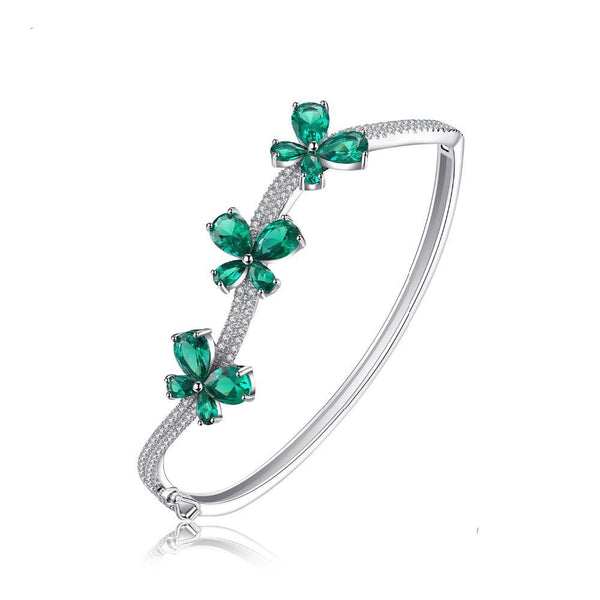 Sterling Silver with 3.7ct Created Emerald Bangle Bracelet 1169