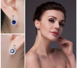 Sterling Silver with 4.8ct Created Blue Sapphire Halo Drop Earrings 1174