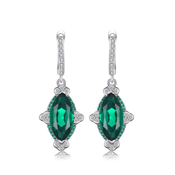 Sterling Silver Earrings with 5.36ct Created Emerald 1126