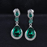 Sterling Silver Earrings with 14.38ct Created Emerald 1120