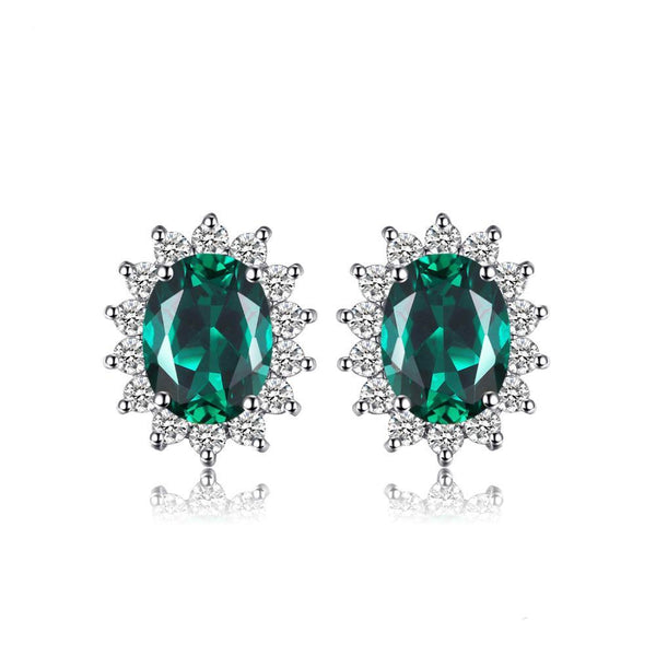 Sterling Silver with 1.1ct Created Emerald Stud Earrings Princess Diana William Kate Middleton's 1146