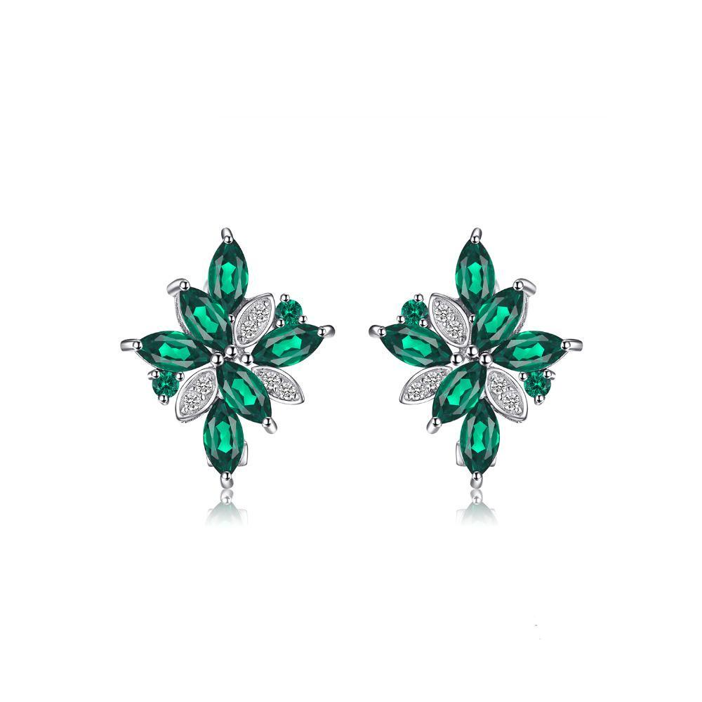 Sterling Silver with 2.5ct Created Emerald Clip On Earrings 1163
