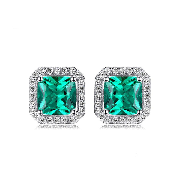 Sterling Silver with 1.2ct Created Emerald Stud Earrings 1148