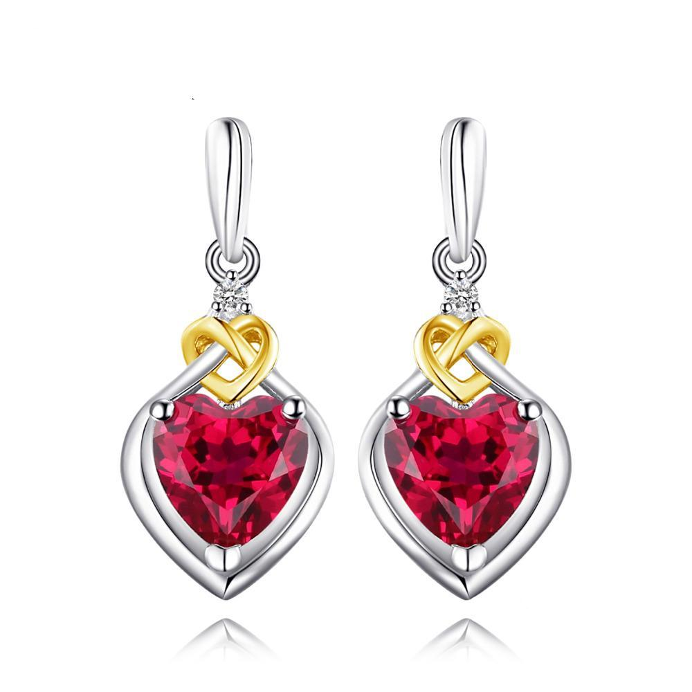 Sterling Silver Earrings with 3.4ct Created Ruby 1101