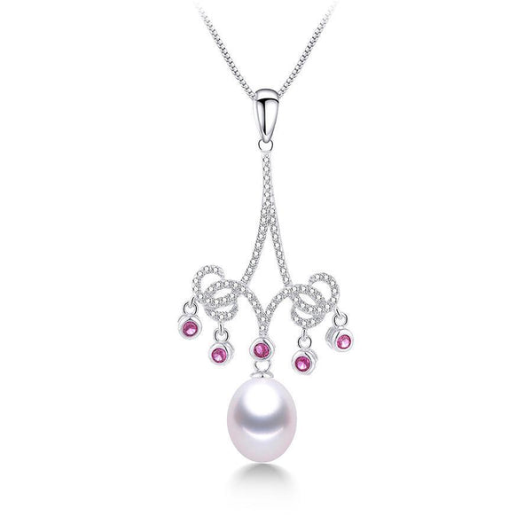 ElegantFreshwater Pearl Necklace with Sterling Silver Pendant Crystal 1075