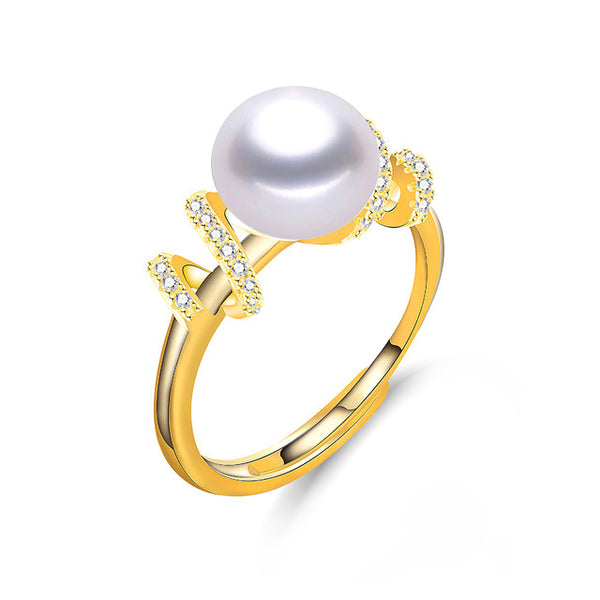 Natural Freshwater Pearl Ring on Gold Color Sterling Silver 1092