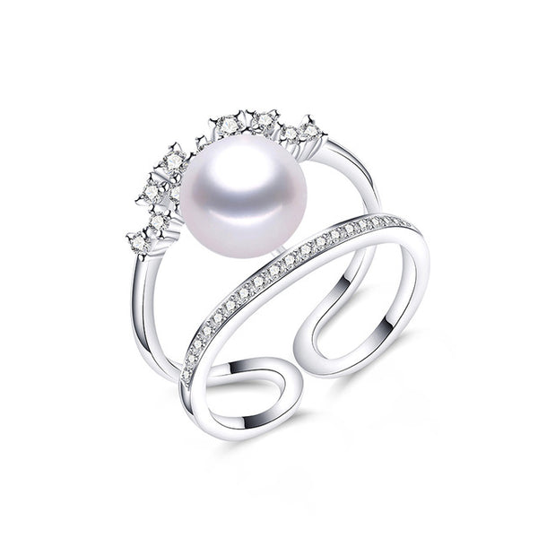 Elegant Crystal Sterling Silver Ring wth Natural Pearl 1066